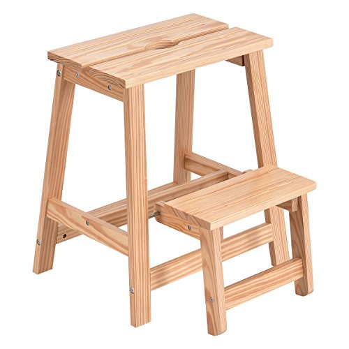 Giantex 2 Tier Solid Wood Step Stool Folding Ladder Bench Seat Kitchen Chair Furniture