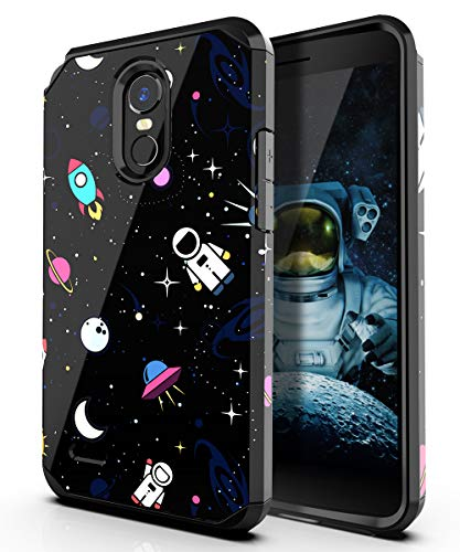 PBRO LG Stylo 3 Case/LG Stylo 3 Plus Case/LG Stylus 3 Case,Cute Astronaut Case Dual Layer Soft Silicone & Hard Back Cover Heavy Duty PC+TPU Protective Shockproof Case for LG - Style Case 3