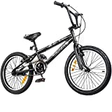 Tauki 20-Inch BMX Freestyle Bike for 8-14 Years Old, 95% assembled, Black