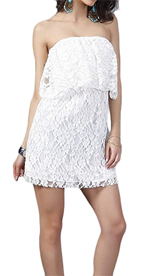 f459dac43 Domple Womens Sexy Strapless Ruffles Bandeau Lace Beach Party Mini Dress  White US OS