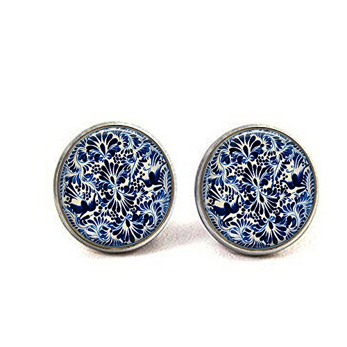 Blue Mexican Pottery Jewelry - Blue and White Earrings - Mexican Jewelry