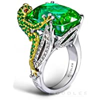 Wassana Huge Emerald Frog Princess 925 Silver Jewelry Wedding Engagement Ring Size 6-10 (6)