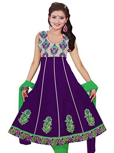 Embroidered Salwar Kameez Purple Stitched Anarkali Suit Indian Wear Dress Suit