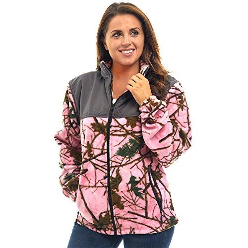 Trail Crest Womens Fleece Wind Jacket, XL, Pink Camo & -