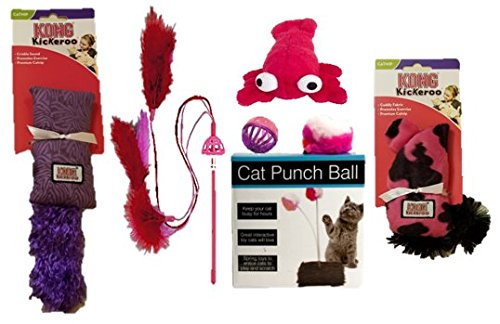 Pink & Purple Cat Toy Bundle   (6-Pack) Cat Starter Kit Includes Toys From Kong, Doggles, Tiny's & Rascals