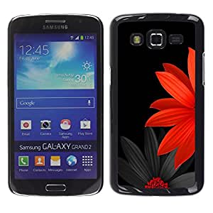 TECHCASE**Cubierta de la caja de protección la piel dura para el ** Samsung Galaxy Grand 2 SM-G7102 SM-G7105 ** Flower Japanese Minimalist Black Red