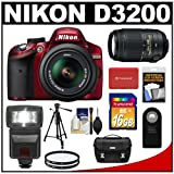 Nikon D3200 Digital SLR Camera and 18-55mm G VR DX AF-S Zoom Lens (Red) + 55-300mm VR Lens + 16GB Card + Flash + Case + Filters + Remote + Tripod + Accessory Kit, Best Gadgets