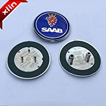 2pcs Hot sale 68mm Blue SAAB logo car front hood bonnet emblem rear badge sticker for 03-10 Saab 9-3 9-5 93 95