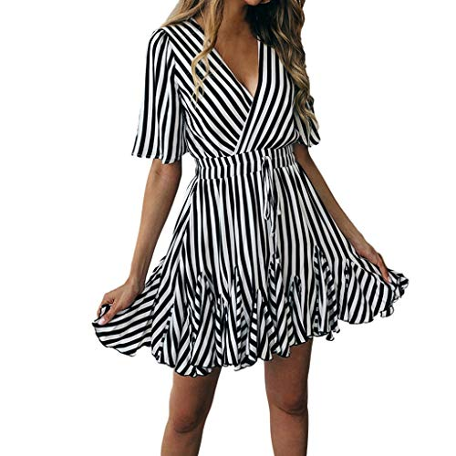 (Lelili Women Sexy Party Dress Fashion Striped Short Sleeve Deep V Neck Pleated Swing A-Line Dress with Belt Black)