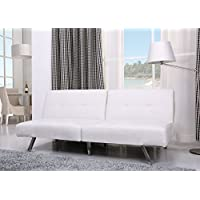 Gold Sparrow Victorville Foldable Futon Sofa Bed, White