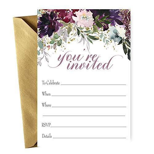 Shabby Floral Invitations with Envelopes for Bridal Shower Baby Shower Engagement Graduation Rehearsal Dinner Wedding Birthday Party Baptism Any Celebration Pack of 15 Cards
