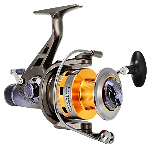 Isafish Spinning Reel for Carp Fishing with Front and Rear Double Drag Brake System Baitrunner Reel 9+1 Stainless Steel BB Left Right Interchangeable for Saltwater Freshwater KS60