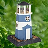 North State 8B9076 Large Nautical Lighthouse Birdfeeder, Blue/White, one Size