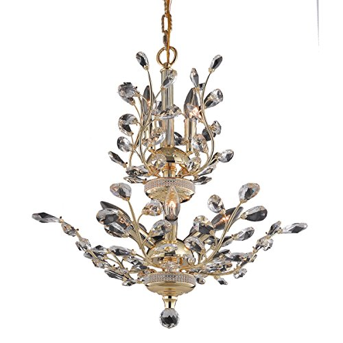 Elegant Lighting 2011D21G/EC Cut Clear Crystal Orchid 8-Light, Two-Tier Crystal Chandelier, Finished in Gold with Clear Crystals, 21
