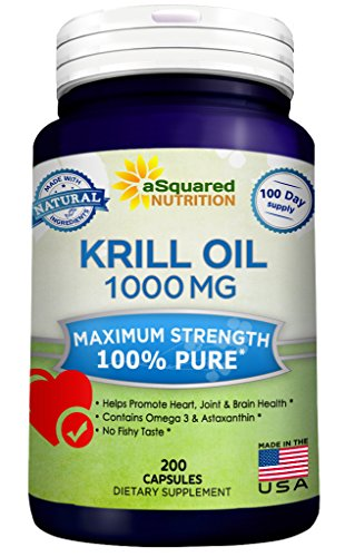 Pure Krill Oil 1000mg w/ Astaxanthin & Omega 3 xl (200 Capsule (Oil Blend 180 Caps)
