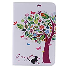 SZYT Tablet Case for Apple iPad Mini 4, 7.9 inch, PU Leather Flip Cover , Colorful Leaves Tree Black Cat