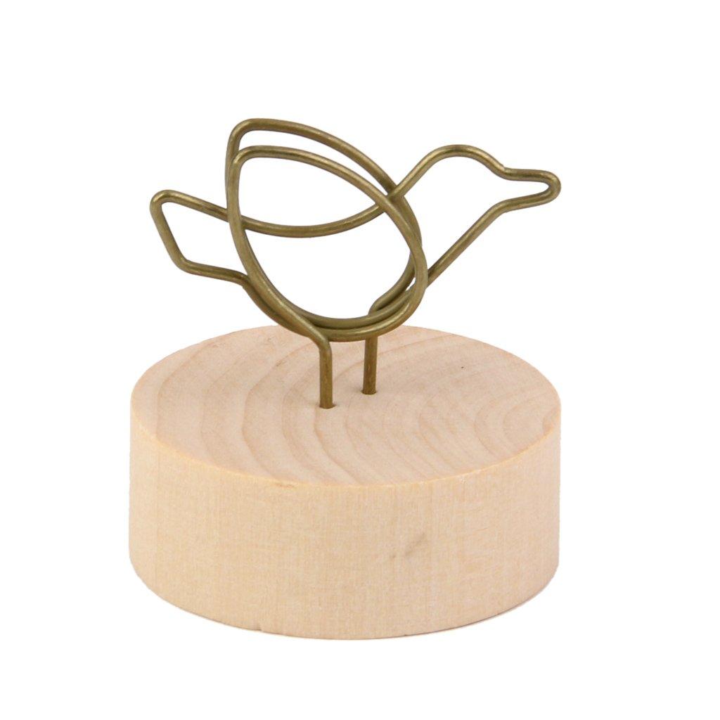 Wooden Base Memo Photo Holder Card Paper Note Clip Wedding Place Name Card Holder Bird Shape