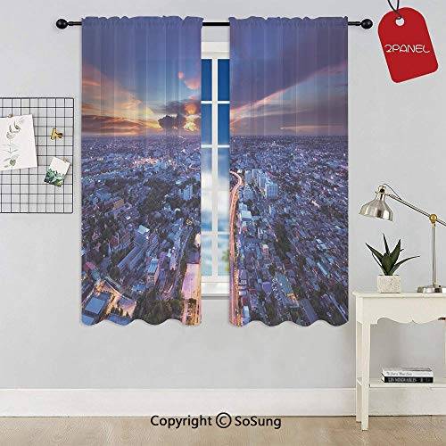 Bangkok Skyline at Sunset Evening Thailand Cityscape Metropolis Architectural Photo Rod Pocket Sheer Voile Window Curtain Panels for Kids Room,Kitchen,Living Room & Bedroom,2 Panels,Each 52x54 Inch,B ()