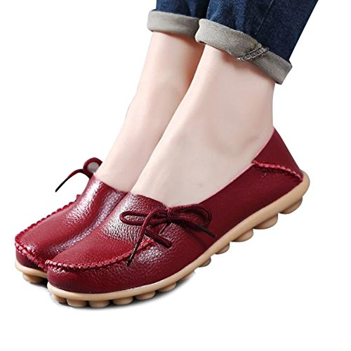 DUOYANGJIASHA Women's Leather Loafers Slip On Flats Casual Round Toe Moccasins Wild Breathable Comfortable Driving Fashion Soft - Liz Claiborne Red Handbag