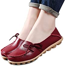 Fashion brand best show Women's Leather Loafers Flats Casual Round Toe Moccasins Wild Breathable Driving Shoes