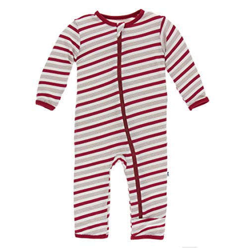 - Kickee Pants Little Girls and Boys Holiday Print Coverall with Zipper - Rose Gold Candy Cane Stripe, 12-18 Months
