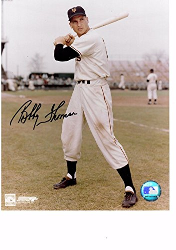 (BOBBY THOMSON 8X10 COLOR AUTOGRAPH PHOTO AUTO NEW YORK GIANTS - OUTFIELDER a )