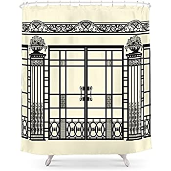 Society6 ART DECO NOUVEAU IRONWORK Black And Cream Shower Curtain 71 By 74