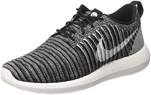 Nike Men s Roshe Two Flyknit Black Black Bright Crmsn Clr Jd Running Shoe 9.5 Men US