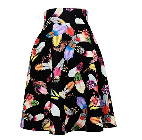 Modeway Women's Floral High Waist Flared Casual Knee Length Pleated Skater Skirt