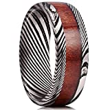 King Will WARRIORS 8mm Mens Damascus Steel Wedding Ring Ebony Wood Inlay Engagement Band 10.5