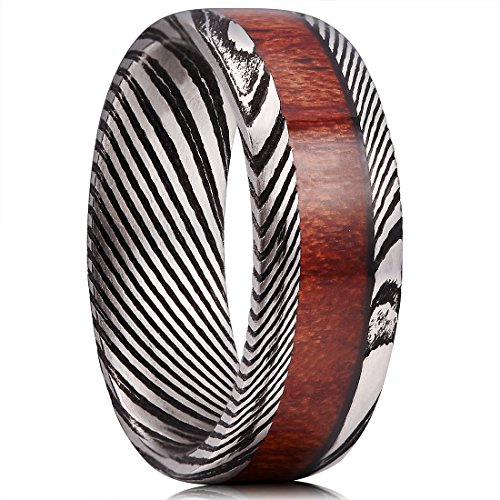 King Will WARRIORS 8mm Mens Damascus Steel Wedding Ring Ebony Wood Inlay Engagement Band 14 Stainless Damascus Steel