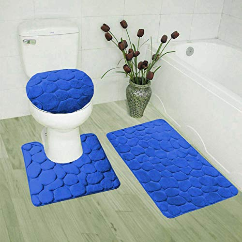 Luxury Home Collection 3 Piece Stone Embossed Solid Color Memory Foam Soft Bathroom Rug Set Non-Slip with Rubber Backing…