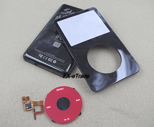 (Black Front Faceplate Fascia Metal Back Rear Case Housing Cover Red Clickwheel Central Button for Ipod 5th Gen Video 30gb)