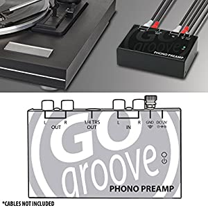 GOgroove Mini Phono Turntable Preamp (Preamplifier) with 12 Volt AC Adapter for Vinyl Record Player - Works With Audio Technica, Crosley, Jensen, Pioneer, Victrola, 1byone and More Turntables