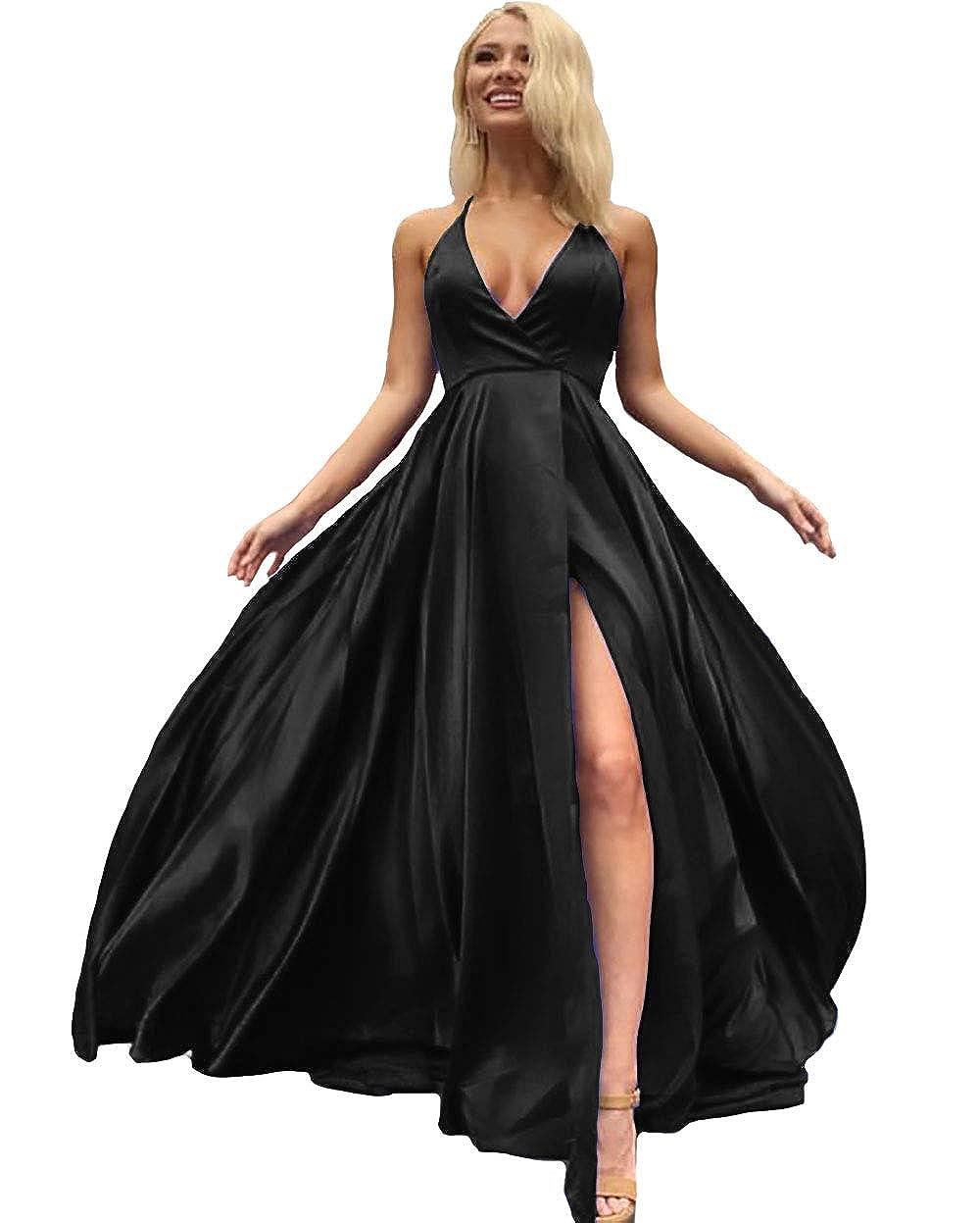 Black IVYPRECIOUS V Neck Side Split Prom Dresses A Line Long Evening Gowns for Women