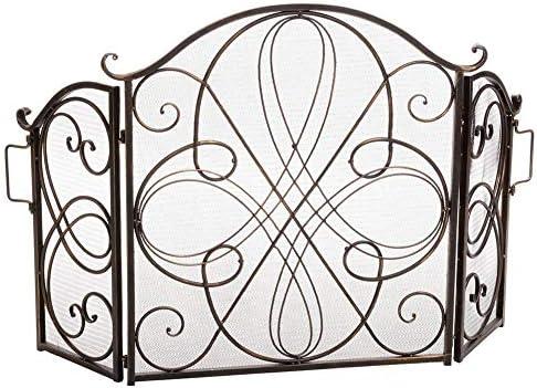 暖炉用品・アクセサリ ハンドル付き3パネル暖炉スクリーン、ヴィンテージ折り畳み式鍛鉄スパークガードメッシュ、ベビーセーフ証明暖炉フェンス、52×33.5inch (Color : Bronze)