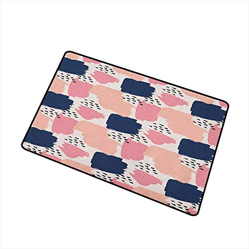 Wang Hai Chuan Navy and Blush Commercial Grade Entrance mat Hand Painted Style Brushstrokes in Pastel Colors Abstract Artistic Pattern for entrances garages patios W29.5 x L39.4 Inch Multicolor