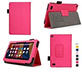 Case for Fire 7 - Premium Folio Case with Stand for the NEW Fire, 7 Display (Sept, 2015 Release) (Imprint Pink)