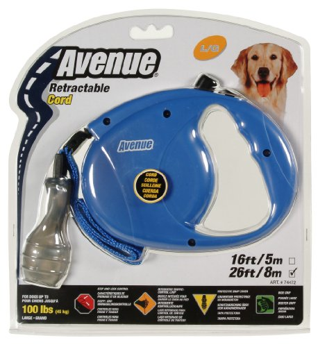 Avenue Retractable 26' Corded Leash for Dogs, Large, Blue (Dog Leash Retractable Animal)