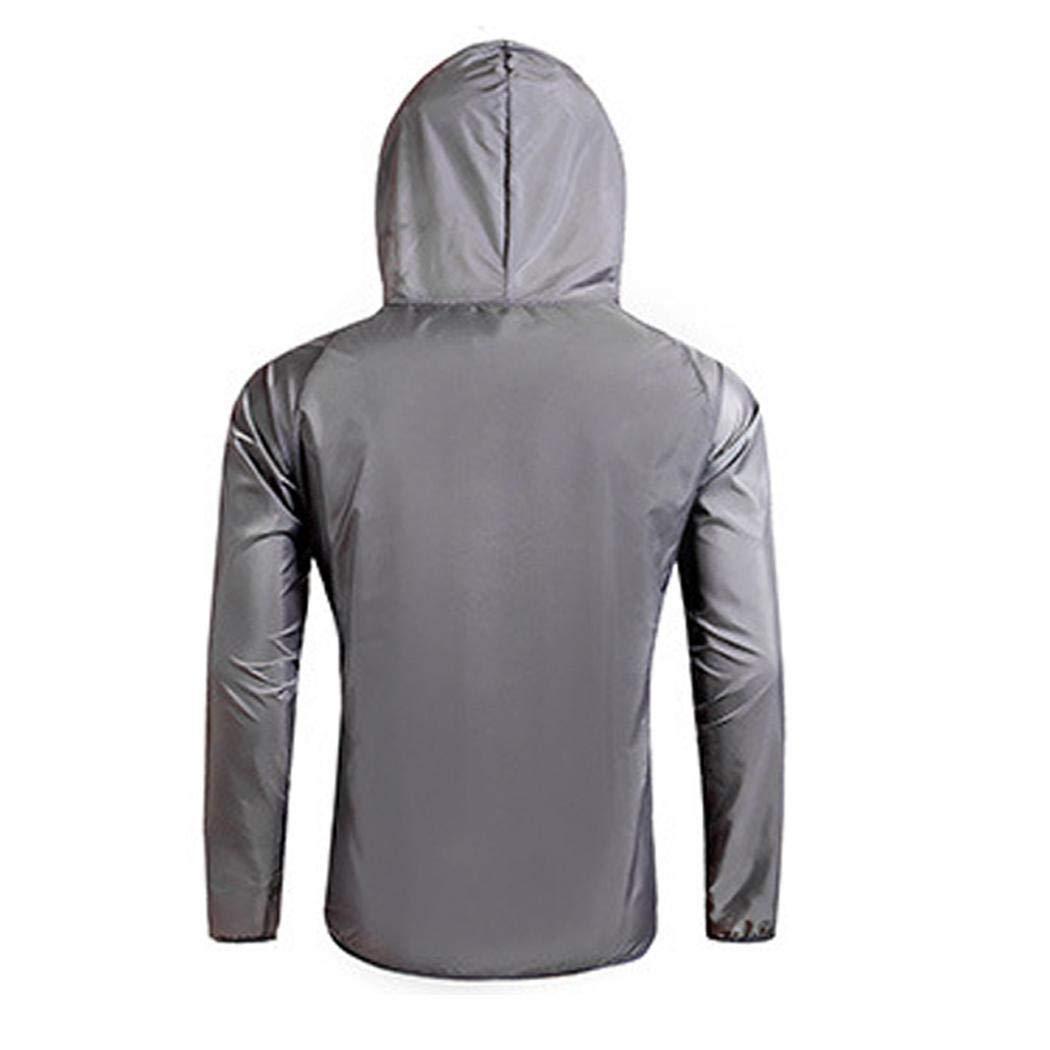 Bibmmo Men Casual Hooded Neck Long Sleeve Solid Zipper Sun Protection Coat Top Track /& Active Jackets