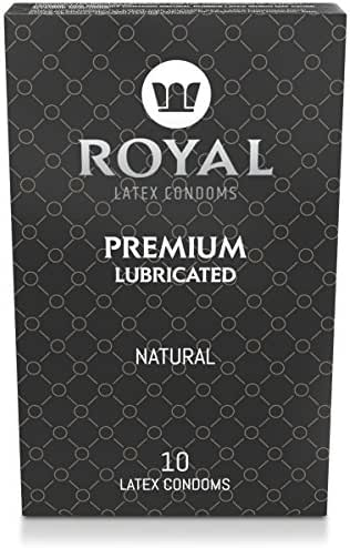 Royal Ultra Thin Condoms - Premium Lubricated, All Natural, Organic, Vegan, High Quality Non-Toxic, Cruelty Free, Odor Free Latex for Long Lasting Extended Pleasure and Performance, 10 Pack