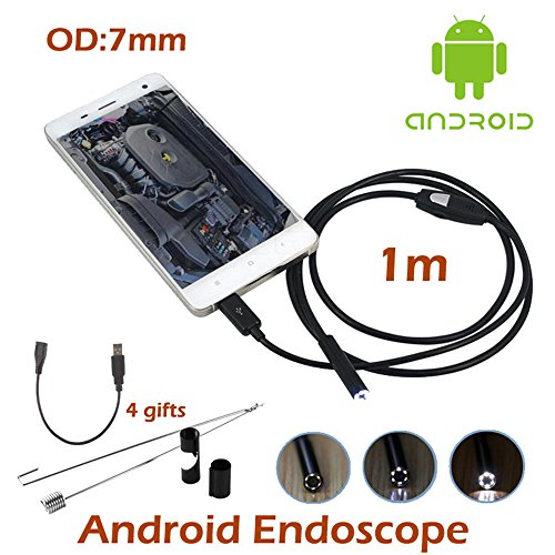 7mm Lens OTG Micro USB Endoscope Camera Waterproof Snake Tube Length 1 Meter