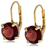 Gold Plated Sterling Silver 8mm Round Lever Back Garnet Earrings