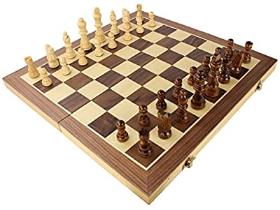 Wooden Magnetic Travel Chess Set with Case and Folding Game Board by bogo Brands