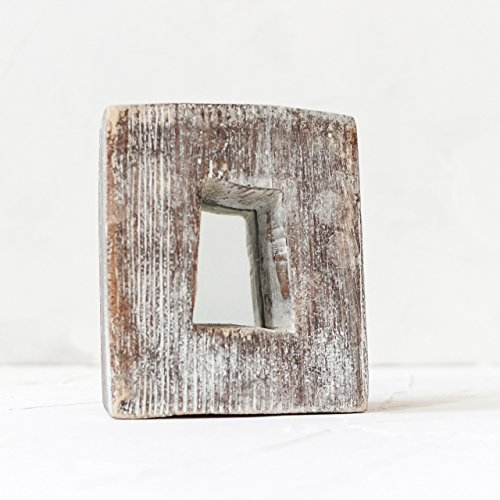 Decorative Wall Mirror Wood Rustic Frame Reclaimed Organizer for Living Room Bedroom Wooden Border Distressed Brown Shabby chic Small Decal Handcrafted with Nail Accents Desk Housewarming Gift 5x4 In