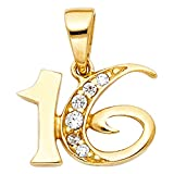 Wellingsale 14K Yellow Gold Polished Sweet 16 Charm Pendant with CZ Accent