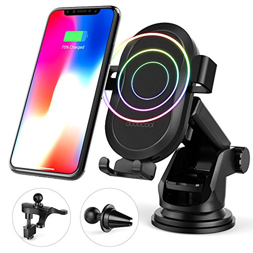 Price comparison product image Fast Wireless Charger, dodocool 10W Wireless Charger Car Mount Air Vent Phone Holder for Samsung Galaxy S9+/S9/Note8/S8/S8+/S7/S7 edge/Note5/S6 edge Plus/iPhone X/8 Plus/8, All Qi-enabled Devices