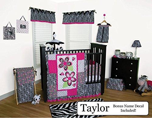 Trend Lab Baby Nursery Bedding Ensemble Set PLUS Personalized Name Decal, Zahara Black & White Zebra, 6pc Set