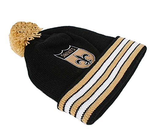 New Orleans Saints Black-Gold Throwback Jersey Striped Cuffed Knit Beanie (Mitchell Black Football Jersey)