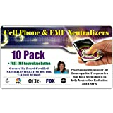 radiation protection phone - 10 Cell Phone EMF Protection Radiation Neutralizers + FREE Wearable EMF Neutralizer Button (Worth $15) - Ultra Slim Design - Developed By Board Certified Natural Doctor
